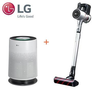 LG A9+ 快清式手持無線吸塵器(銀色雙電池) + LG PuriCare 空氣清淨機 AS551DWS0