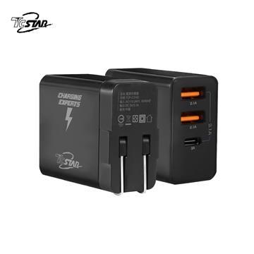 T.C.STAR TYPE-C+USB 三孔旅行充電器 - 黑色