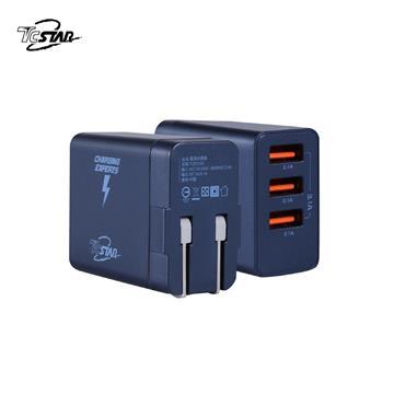 T.C.STAR 三孔3.1A USB旅行充電器 - 藍色