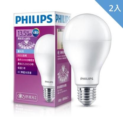 【二入組】飛利浦全電壓舒適光LED燈泡廣角13.5W白光