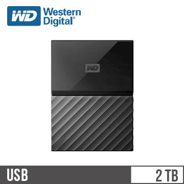 WD威騰 My Passport 2.5吋 2TB 薄型外接硬碟 黑