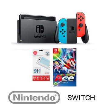 【Nintendo Switch 電光藍/紅主機 瑪利歐網球趣味組】+【網球拍】
