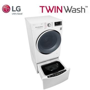 LG TWINWash 雙能洗(蒸洗脫) 洗衣機冰磁白(10.5公斤+2公斤)WD-S105CW+WT-D200HW(白)