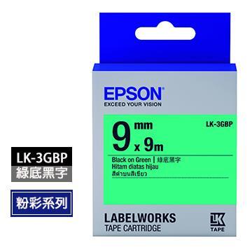 EPSON LK-3GBP綠底黑字標籤帶
