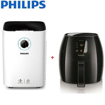 【同捆組】PHILIPS 25坪智能抗敏空氣清淨機 + 飛利浦5人份健康氣炸鍋 HD9240