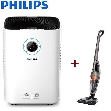 【同捆組】PHILIPS 25坪智能抗敏空氣清淨機 + PHILIPS 2合1直立式吸塵器 FC6168/32