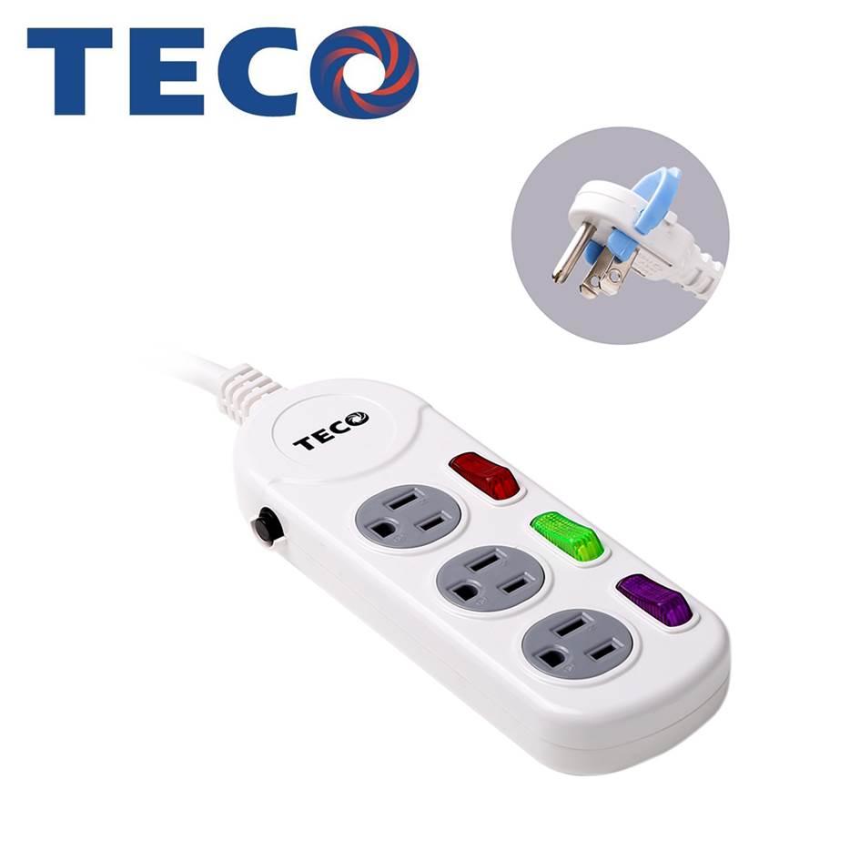 TECO 三開三插電源延長線1.8M