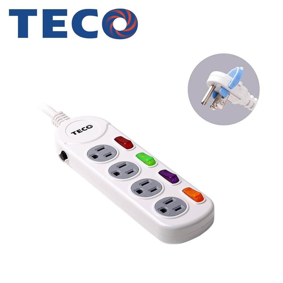 TECO 四開四插電源延長線1.8M