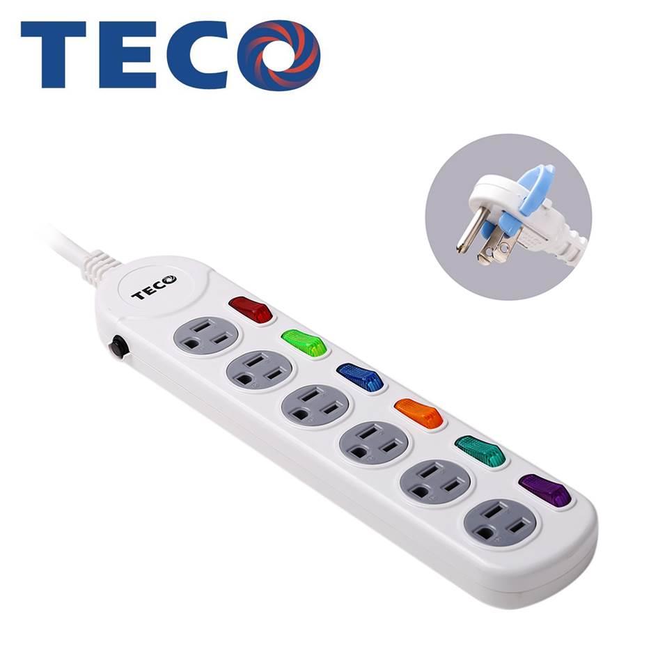 TECO 六開六插電源延長線1.8M