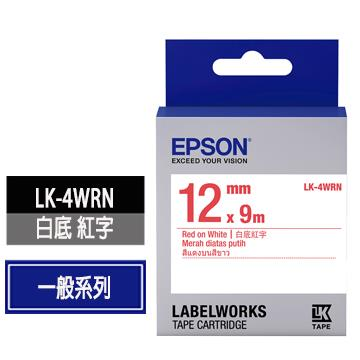 EPSON LK-4WRN白底紅字標籤帶 C53S654402
