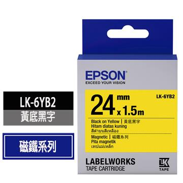 愛普生EPSON LK-6YB2黃底黑字標籤帶