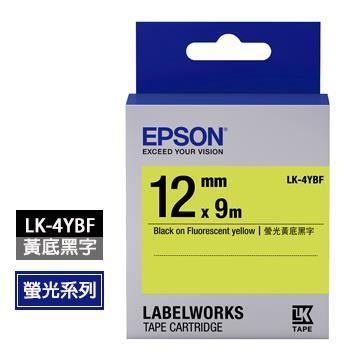 EPSON LK-4YBF黃底黑字標籤帶