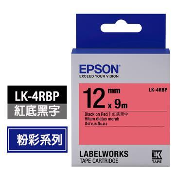 愛普生EPSON LK-4RBP紅底黑字標籤帶