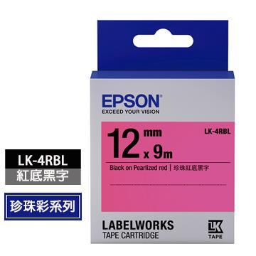愛普生EPSON LK-4RBL紅底黑字標籤帶