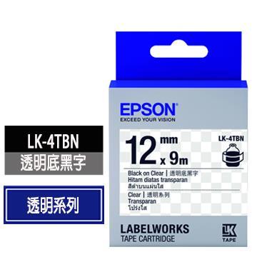 EPSON LK-4TBN透明底黑字標籤帶 C53S654408