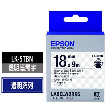 EPSON LK-5TBN透明底黑字標籤帶 C53S655408