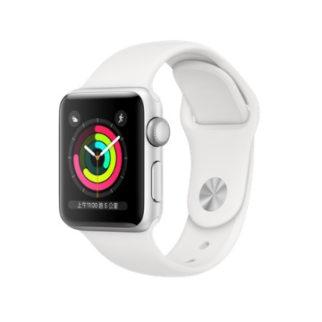 【GPS版 38mm】Apple Watch S3/銀鋁/白運動錶帶