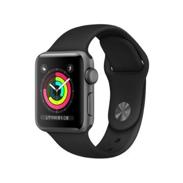 【GPS版 38mm】Apple Watch S3/太空灰鋁/黑運動錶帶