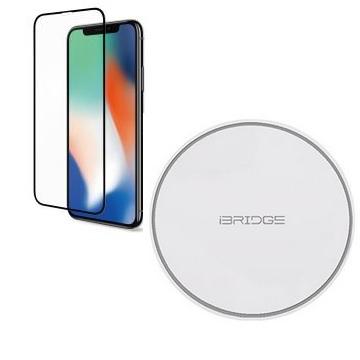 【iPhone XR】Riivan  2.5D滿版玻璃保護貼 - 黑色+iBRIDGE 10W 無線快充充電盤-白