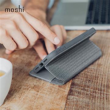 【iPhone XS Max】Moshi Overture 側開卡夾保護套 - 灰色