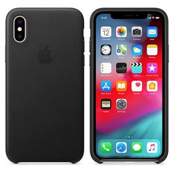 iPhone XS 皮革保護殼-黑色