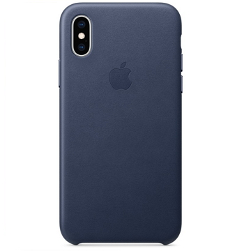iPhone XS 皮革保護殼-午夜藍色
