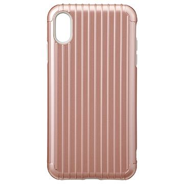 【iPhone XS Max】Gramas Rib經典行李箱手機殼 - 玫瑰色