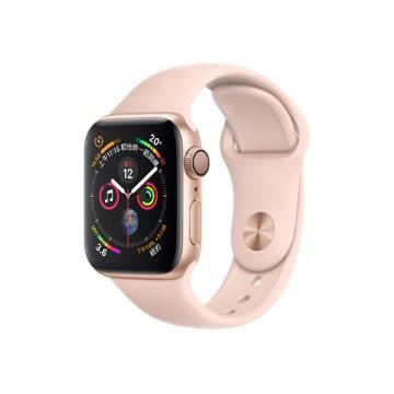 【GPS版40mm】Apple Watch S4/金鋁/粉沙色運動錶帶