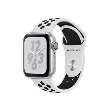 【GPS版Nike+ 40mm】Apple Watch S4/銀鋁/白底黑洞運動錶帶