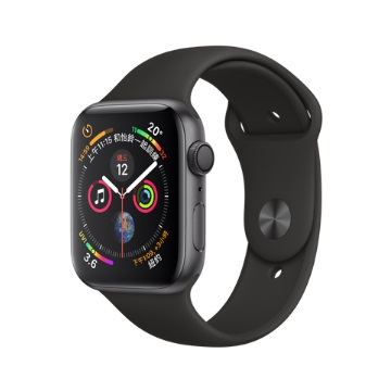【GPS版44mm】Apple Watch S4/灰鋁/黑運動錶帶