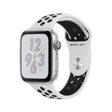 【GPS版Nike+ 44mm】Apple Watch S4/銀鋁/白底黑洞運動錶帶