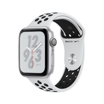 【GPS版Nike+ 44mm】Apple Watch S4/銀鋁/白底黑洞運動錶帶 MU6K2TA/A