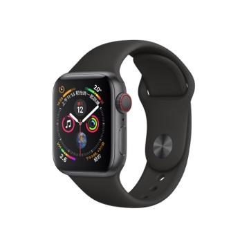 【LTE版40mm】Apple Watch S4/灰鋁/黑運動錶帶