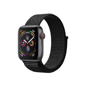 【LTE版40mm】Apple Watch S4/灰鋁/黑運動錶環