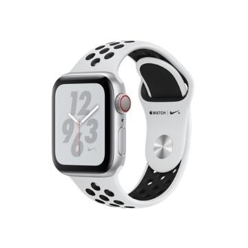 【LTE版 Nike+ 40mm】Apple Watch S4/銀鋁/白底黑洞運動錶帶