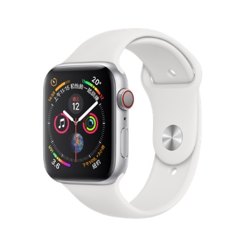 【LTE版44mm】Apple Watch S4/銀鋁/白運動錶帶