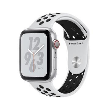 【LTE版 Nike+ 44mm】Apple Watch S4/銀鋁/白底黑洞運動錶帶
