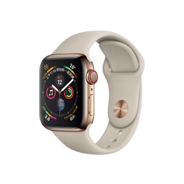 【LTE版40mm】Apple Watch S4/金不鏽鋼/石色運動錶帶