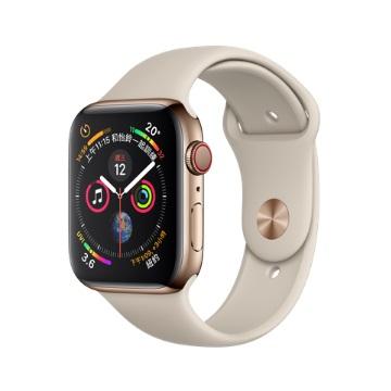 【LTE版44mm】Apple Watch S4金不鏽鋼/石色運動錶帶