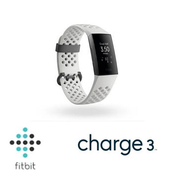 Fitbit Charge 3 智慧手環 - 黑框白錶帶