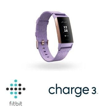 Fitbit Charge 3智慧手環 - 金框淡紫編織錶帶
