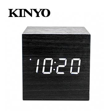 KINYO 迷你LED聲控木頭鬧鐘