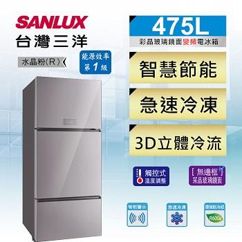 台灣三洋 475公升采晶玻璃三門變頻冰箱