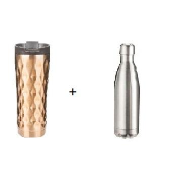 FJ 500ml不鏽鋼保溫瓶(原色)+FJ 360ml銅鑽隨行保溫杯