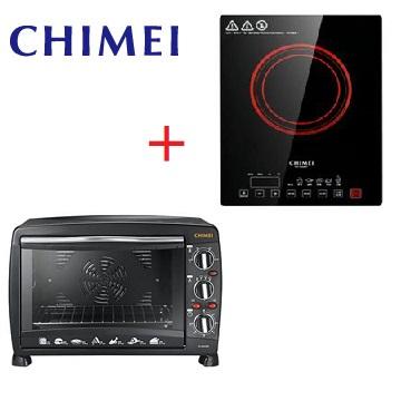 【福利品】CHIMEI 26L易潔式後旋風電烤箱+1200W薄型觸控式變頻電磁爐