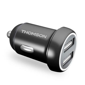 THOMSON 鋁合金4.8A雙孔USB車用充電器