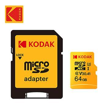 Kodak MicroSD U3 V30 64G 記憶卡-含轉卡