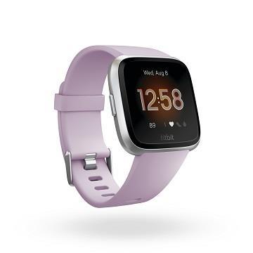 Fitbit Versa Lite 智慧手錶-銀框粉紫錶帶