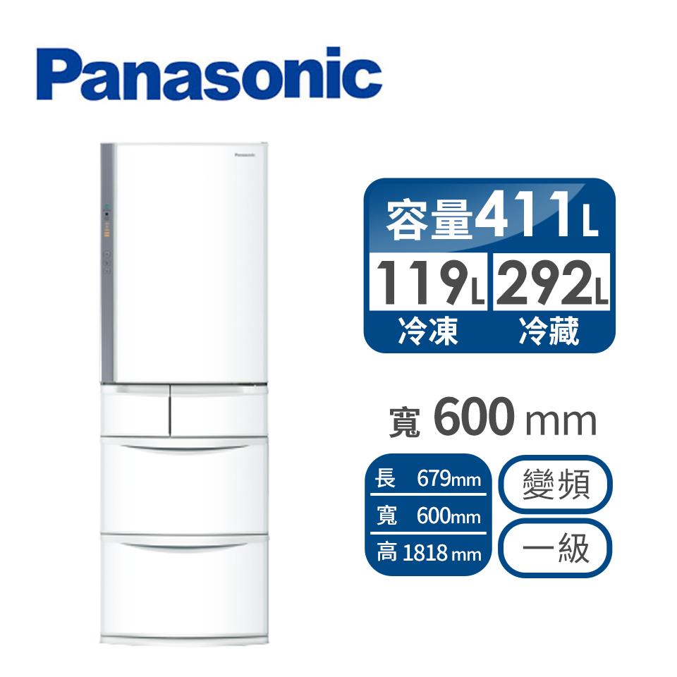 Panasonic 411公升旗艦ECONAVI五門變頻冰箱 NR-E414VT-W1(晶鑽白)