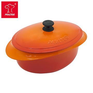 摩堤 32cm 鑄鐵橢圓鍋 橘內黑